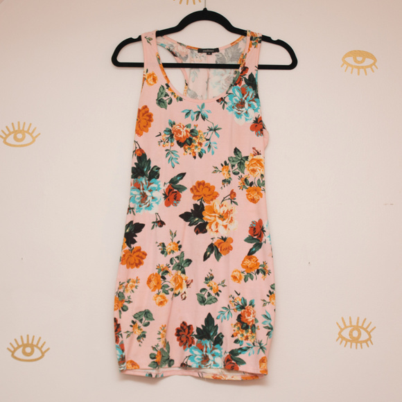 Forever 21 Dresses & Skirts - Ambiance Floral Racerback Stretchy Mini Dress M